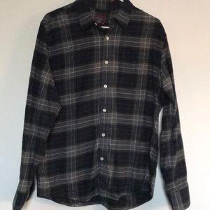 UNTUCKit plaid flannel slim shirt gray green navy
